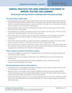 General Practices for Using Embedded Assessment to Improve Teaching and Learning
