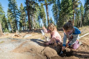 A student at McCall Outdoor Science School's outdoor learning program in 2020.