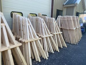 Several easels, donated for the purpose of outdoor learning at Portland Public Schools in 2020.
