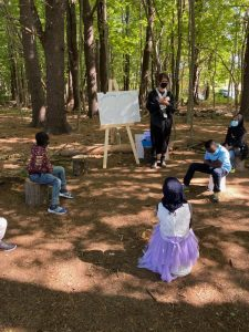 Students engaged in outdoor learning at a Portland Public School in 2020.
