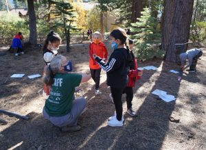 Learners in an outdoor learning space as a part of Sierra Nevada Journeys' 2020 pandemic pilot.